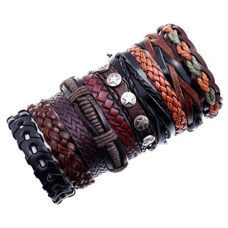 hot-selling men's cowhide retro multi-layer woven suit bracelet  NHPK259307's discount tags