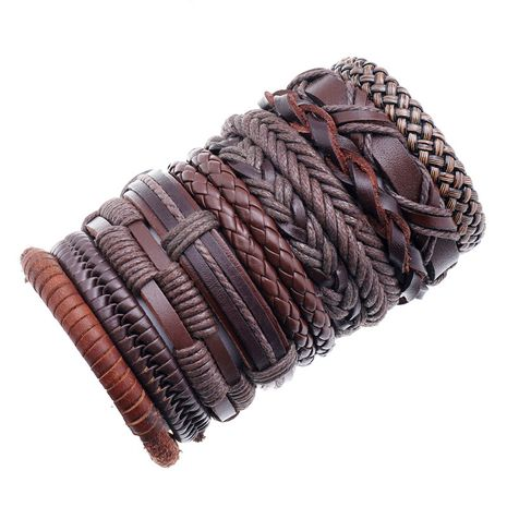 Fashion new retro woven mix and match simple multi-layer adjustable cowhide suit bracelet NHPK259308's discount tags