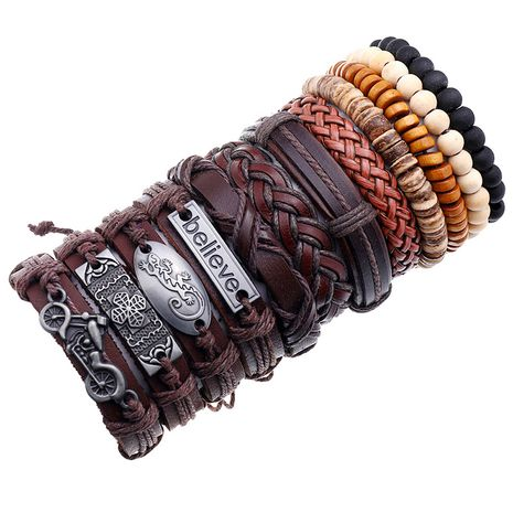 new retro woven leather wooden bead bracelet set NHPK259310's discount tags