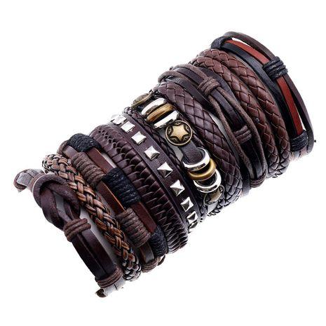 hot-selling fashion men's cowhide retro multi-layer woven suit bracelet  NHPK259311's discount tags