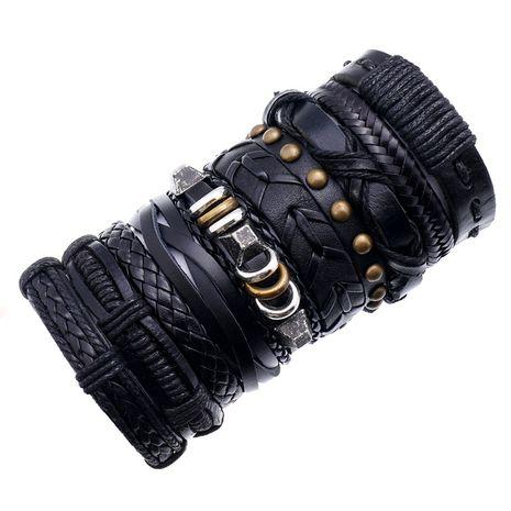 new retro woven cowhide simple multi-layer men's leather bracelet  set NHPK259312's discount tags