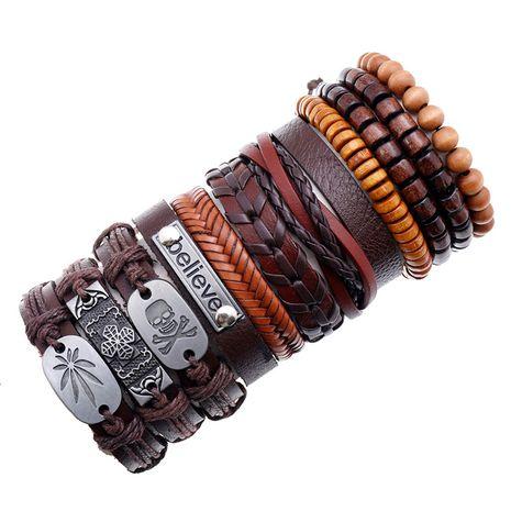 Hiphop style fashion new retro woven men's leather bracelet set NHPK259313's discount tags