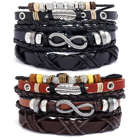 hot-selling retro braided cowhide bracelet three-piece set  NHPK259314's discount tags
