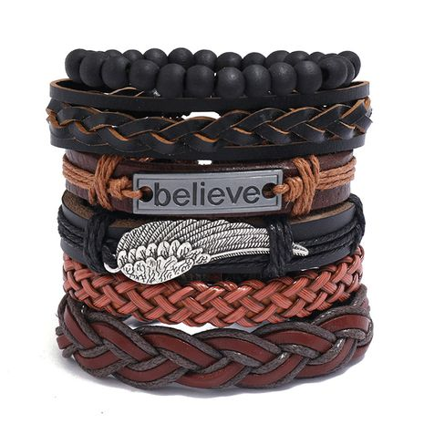 Fashion new multi-layer woven retro cowhide simple  believe leather bracelet   NHPK259315's discount tags