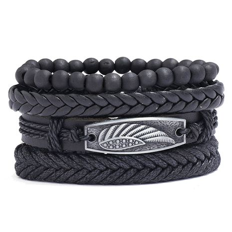 Fashion creative new hand-woven cowhide four-piece leather bracelet NHPK259316's discount tags