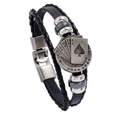Fashion new braided alloy playing card beaded pair buckle leather bracelet  NHPK259318's discount tags