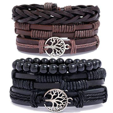 Fashion hand-woven vintage cowhide three-piece men's bracelet NHPK259320's discount tags