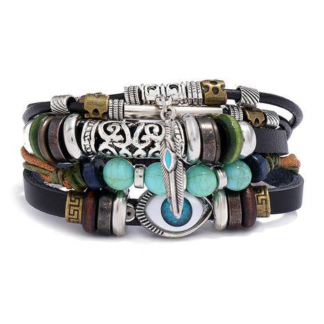 hot-selling new multi-layer beaded blue eyes cowhide adjustable trendy bracelet  NHPK259321's discount tags