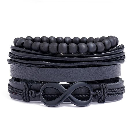 Fashion multi-layer woven retro cowhide simple black 8 word leather bracelet NHPK259323's discount tags