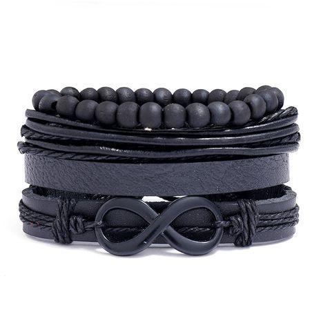 Bracelet en cuir noir simple 8 mots en cuir de vachette rétro tissé multicouche à la mode NHPK259323's discount tags