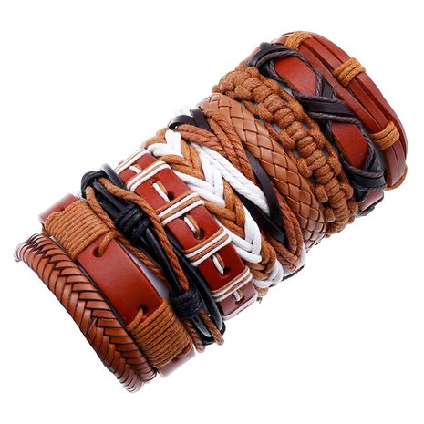 Hiphop style vintage braided cowhide 10 piece leather bracelet for women NHPK259326's discount tags