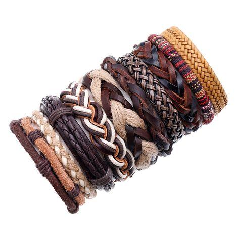 nouvelle mode rétro en cuir de vachette tissé simple bracelet en cuir pour hommes multicouches NHPK259327's discount tags