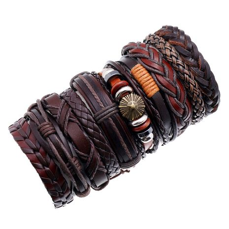 Fashion new cowhide simple multi-layer men's bracelet  NHPK259328's discount tags