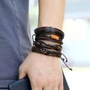Fashion new cowhide simple multilayer mens bracelet  NHPK259328