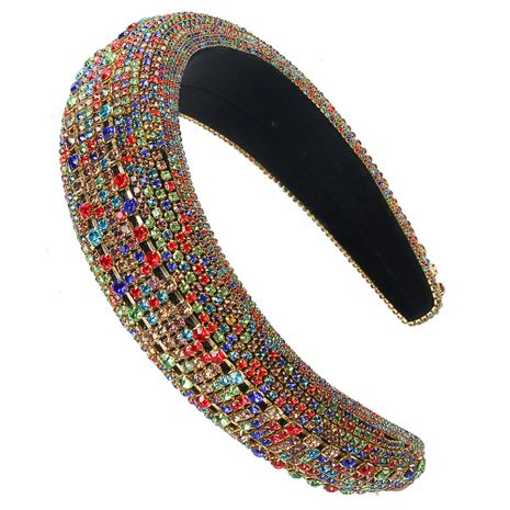 Hot selling fashion colored diamond alloy glass diamond headband wholesale NHCO259332's discount tags