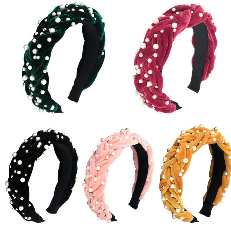 Hot selling gold velvet twist braided handmade beading cross widebrimmed pearl braid headband NHCO259341