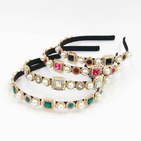 Hot selling fashion crystal clear gemstone metal headband wholesale NHCO259357's discount tags