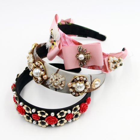 Hot selling fashion personality rhinestone gemstone flower bee metal headband NHCO259361's discount tags