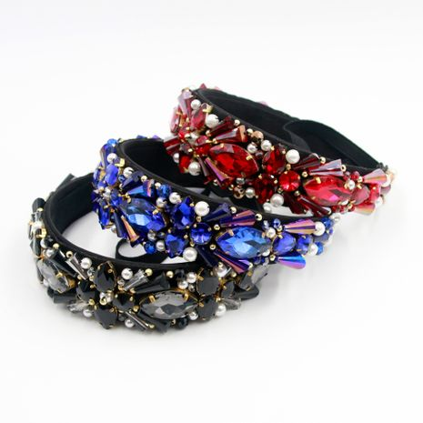 Hot selling fashion personality gemstone handmade sewn pearl headband  NHCO259364's discount tags