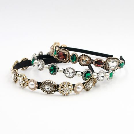 Hot selling fashion retro gemstone rhinestone headband  NHCO259365's discount tags