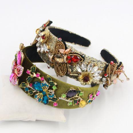 Hot selling fashion personality bee flower dot diamond metal headband NHCO259371's discount tags