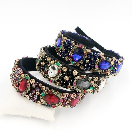 Hot selling fashion personality gemstone handmade sewing metal headband  NHCO259372's discount tags