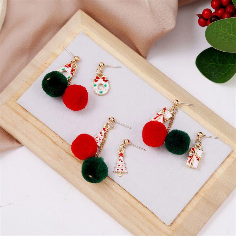 Hot selling fashion cute dripping oil hair ball Christmas earrings NHLA259380