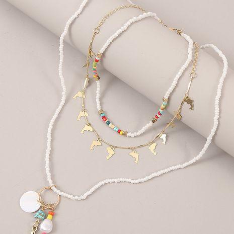 Mode nouvelle tendance tissé dauphin perles de riz multicouche style bohème coquille sirène pendentif collier pour les femmes NHLA259382's discount tags