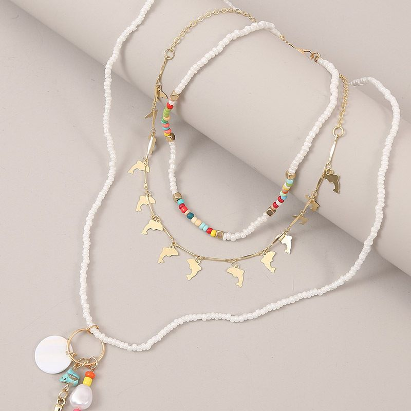 Fashion new trend woven dolphin rice beads multilayer bohemian style shell mermaid pendant necklace for women  NHLA259382