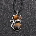 NHYL1127855-Wax-rope-tiger-eye-stone-cat-pendant