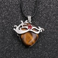 NHYL1127856-Wax-rope-tiger-eye-stone-small-red-flower-pendan