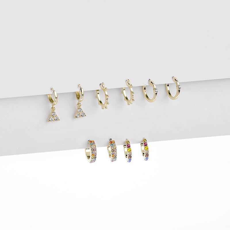 Color micro inlaid zircon alloy earrings set NHLU155461