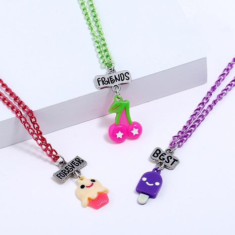 Children's cute three-dimensional cherry ice cream simulation food necklace NHNU258988's discount tags
