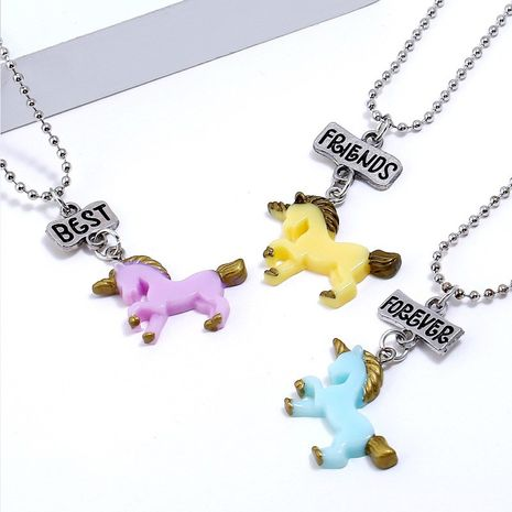 Hot selling three-color unicorn resin pony necklace wholesale NHNU258983's discount tags
