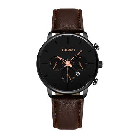 Reloj de negocios ultrafino de moda para hombres Reloj de cinturón con calendario de tres ojos de estilo británico para hombres NHSS259454's discount tags
