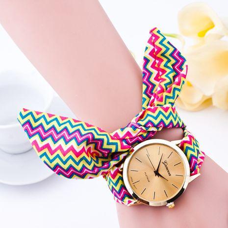 Reloj de moda de las señoras impresas a rayas de la correa del paño de la moda NHSS259458's discount tags