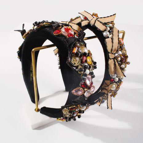 multicolor pearl-studded glass diamond retro alloy wide-brim bow headband NHMD259472's discount tags