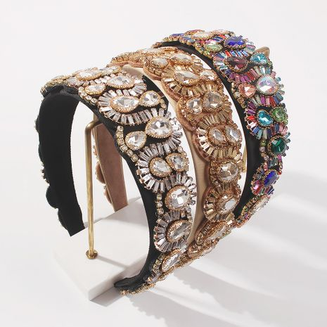baroque style handmade glass diamond all-match luxury headband  NHMD259475's discount tags