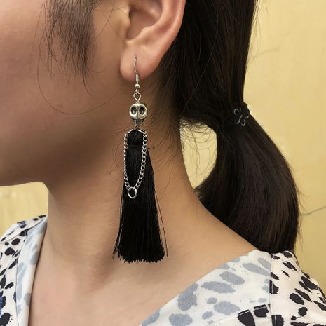 fashion new exaggerated skull alloy tassel long earrings for women wholesale  NHMD259481's discount tags