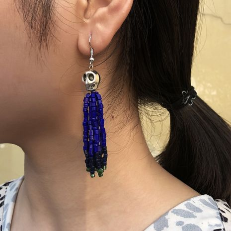 new fashion skull color tassel Halloween retro alloy earrings for women NHMD259488's discount tags