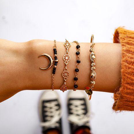 Hot selling fashion geometric circle black beads moon bracelet set wholesale NHGY259490's discount tags