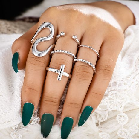 fashion Bohemian retro geometric cross round open ring 6 six-piece set NHGY259491's discount tags