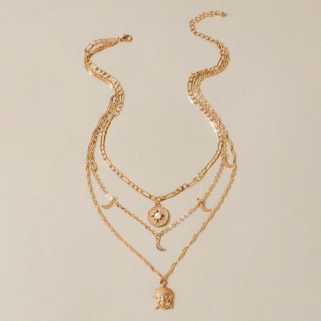 trends new  exaggerated personality Buddha statue moon  multi-layer  necklace NHGY259498's discount tags