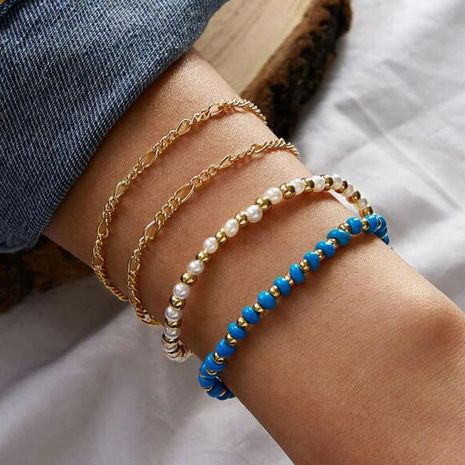 Hot selling fashion blue rice bead bracelet alloy round bead pearl bracelet set NHGY259501's discount tags