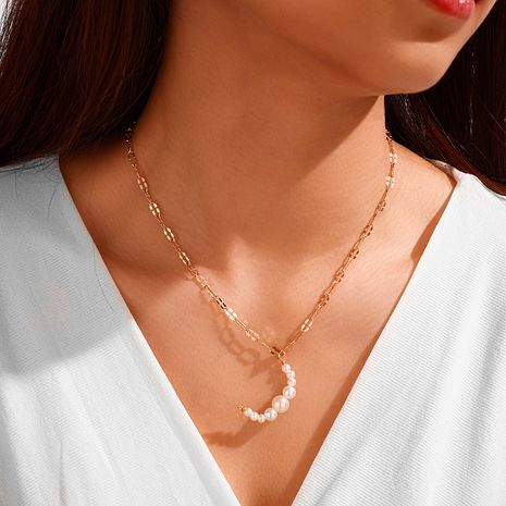 Korean  pearl  moon shape pendant necklace NHGY259503's discount tags