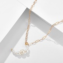 Korean  pearl  moon shape pendant necklace NHGY259503