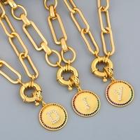 Venta caliente de moda placa redonda 26 letras colgante collar al por mayor NHAS259510