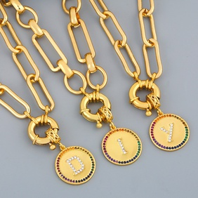 Hot selling fashion round plate 26 letters pendant necklace wholesale NHAS259510