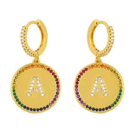 fashion 26 English alphabet  inlaid color zircon earrings  NHAS259511's discount tags