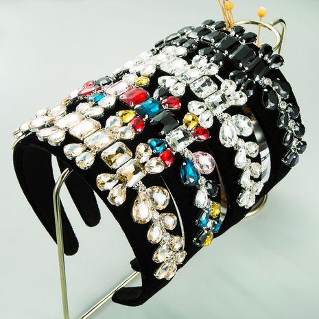 new  high-end black gold velvet floral  wide-sided super flash full drill headband NHLN259515's discount tags